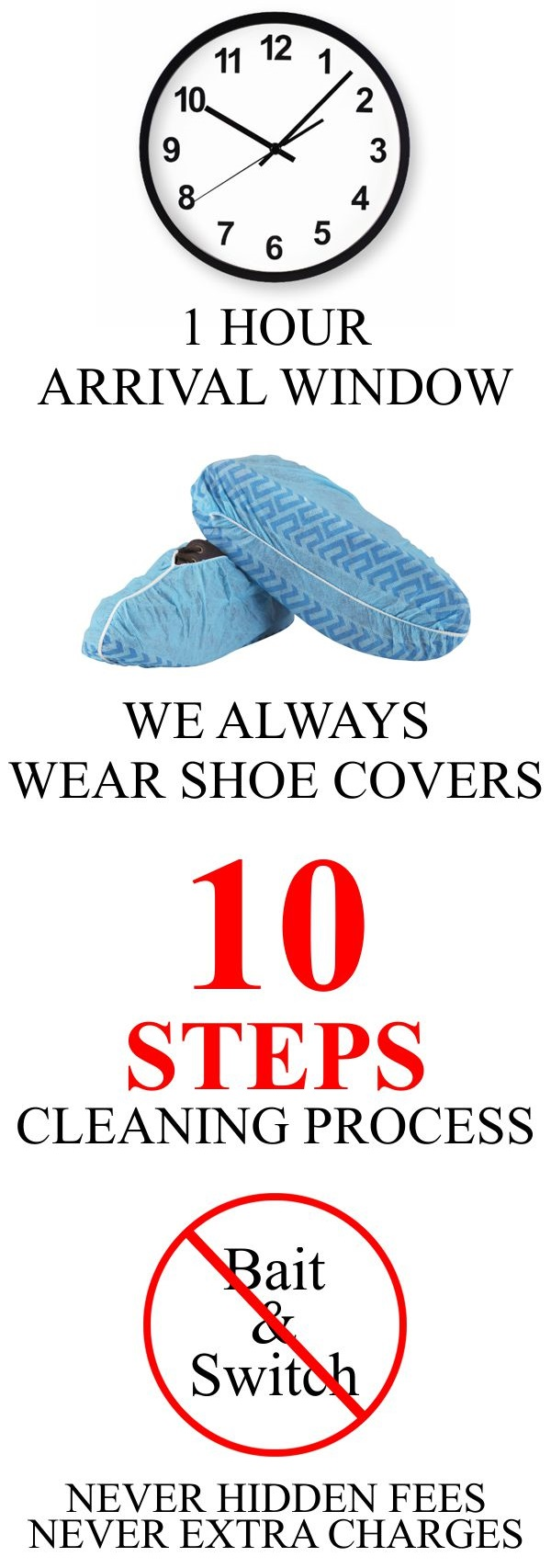 What to expect from us: 30 minutes time frame of arrival, we always wear shoe covers, 10 step cleaning process, never hidden fees, never extra charges